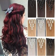 "22 18 15""  Full Head 8 piece Clip in on Hair Extensions 18 clips feel like Human"