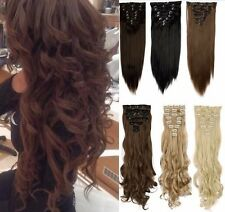 Full Head Clip in on Hair Extensions Real Quality Medium Dark Brown clip hair