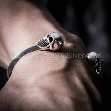 Skull Cuff Bangle for Men - Highest Quality Solid 925 Sterling Silver.