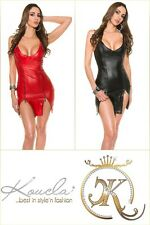 Neu Stretch Wetlook Träger Lederlook Zipper Wet Leder Dress Dance Kleid !50253