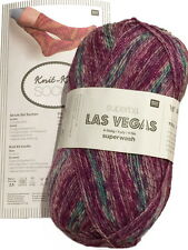 Rico Design Las Vegas Yarn with Sparkly Thread 4ply Wool Free Sock Pattern 100g