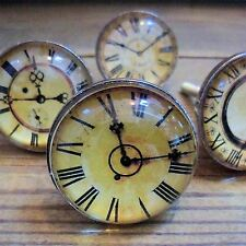 Vintage Glass Clock face DOOR KNOBS HANDLES Shabby Furniture chic Drawer pulls