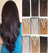 Real Natural Full Head Clip in on Hair Extensions Fake Remy Black Brown Red hair