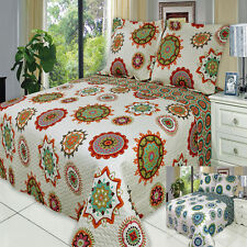 Julia Oversize Full Queen Printed Coverlet Bedspread Set 100% Microfiber Cover