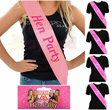 PINK HEN PARTY SASH SASHES GIRLS DO NIGHT OUT ACCESSORIES WEDDING BRIDE TO BE