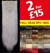 "Hair Extensions 8 Piece Synthetic Full Head 18 22"" Clip in Hair Feel Like Human"