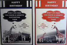 You Having a Giraffe Newcastle or Sunderland Stadium Football Birthday Card