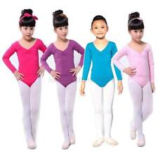 Kids Girls Long Sleeve Leotard Cotton Ballet Dance Gymnastics Leotards Dancewear