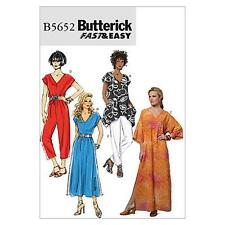 BUTTERICK SEWING PATTERN MISSES' TOP  DRESS CAFTAN JUMPSUIT & PANTS XS-XXL B5652