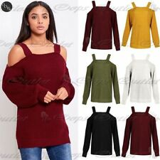 Womens Ladies Straps Off the Shoulder Knitted Baggy Oversized Jumper Top Sweater