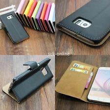 Genuine Real Leather Flip Wallet Card Holder Stand Case Cover For Sony Xperia