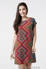 STELLA MORGAN GEOMETRIC TRIBAL ETHNIC IKAT PRINT DRESS MULTI 8 10 12 14 16