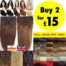 UK Seller Long Full Head Clip In Hair Extensions Curly Straight Real Thick Hair