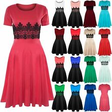 Womens Ladies Cap Sleeve Waist Lace Flared Franki Skater Midi Dress Plus Size