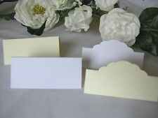 50 Quality white or ivory linen effect wedding place name cards table decoration