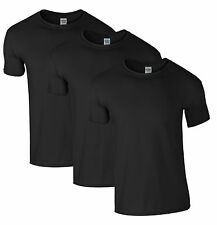 NEW MENS 3 PACK PLAIN COTTON SOFT STYLE GILDAN T-SHIRTS in BLACK Tees Tshirts