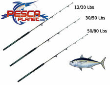 Set Canna Da Traina Big Tuna Carrucolata 12/30 30/50 50/80 Lbs Pesca Al Ton PP