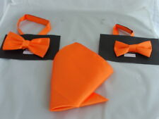 "Neon Shiny Orange MENS - BOYS Polyester Bow Tie OR in Sets or 9"" Top Square Only"
