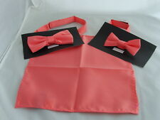 """Coral-Salmon MENS - BOYS Polyester Bow Tie OR in Sets OR 9""""  Square Hankie Only"""