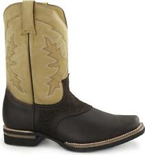 Grinders FRONTIER Unisex Mens Womens Leather Western Pull On Cowboy Boots Brown
