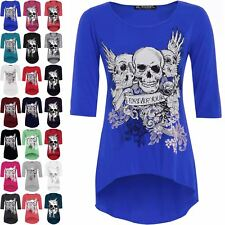 Womens Ladies 3/4 Sleeves Skull Forever Young Printed Dip Hem High Low Tunic Top
