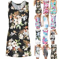 Womens Sleeveless Muscle Back Vest Floral Butterfly Print Tunic Top Mini Dress