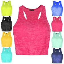 Womens Ladies Burnout Racer Muscle Back Deep Side Cut Out Crop Tank T Shirt Top