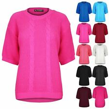 Womens Ladies Chunky Cable Knit Short Sleeve Stretch High Low Dip Hem Jumper Top