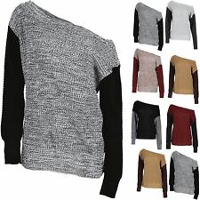 Womens Top Contrast Sleeve Ladies Chunky Knit Off the Shoulder Oversized Jumper