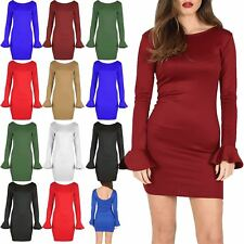 Womens Peplum Sleeve Ladies Dip Back Neck SlimFit Tunic Bodycon Party Dress 8-20