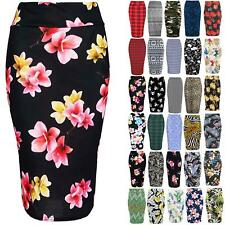 Womens Ladies Floral Roses Leaves Summer Stretchy Bodycon Pencil Tube Midi Skirt