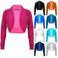 Womens Ladies Ribbed Long Sleeve Cotton Bolero Cardigan Shrug Crop Top Plus Size