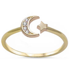 Yellow Gold Plated Cz Crescent Moon & Star .925 Sterling Silver Ring Sizes 4-11