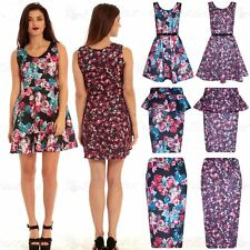 New Womens Ladies Floral Frill Midi Bodycon Skirt Pencil Peplum Top Skater Dress