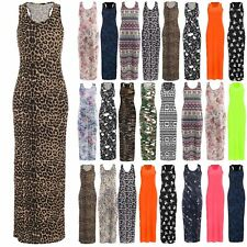 Womens Muscle Racer Back Ladies Stretchy Printed Jersey Long Vest Maxi Plus Size