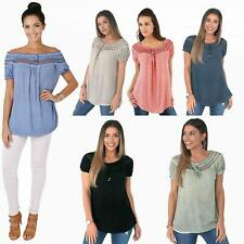 Womens Gypsy Boho T Shirt Off Shoulder Blouse Top Cotton Tunic Summer Loose Fit