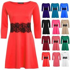Womens Ladies 3/4 Sleeve Waist Lace Detail Flared Franki Skater Dress Plus Size
