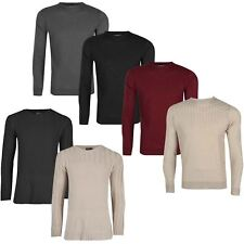 Mens Rib Knitted Knitwear Long Sleeve Sweater Check Knit Pullover Jumper Top