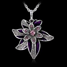 Vintage Lucky Leaf Flower Pendant Necklace Crystal Rhinestone Long Silver Chain