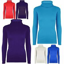 New Womens Ladies Stretchy Polo Turtle Roll Neck Ribbed Long Sleeves T Shirt Top