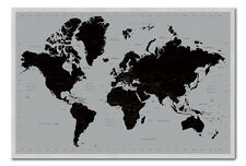 World Map Poster Contemporary Black & Silver Magnetic Notice Board Inc Magnets