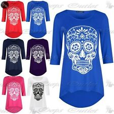New Womens Ladies 3/4 Sleeve Skull Print Dipped Hem High Low Tunic Top Plus Size