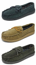 Mens Sleepers Real Suede Wide Fit Leather Moccasin Slippers BLUE BROWN 8-12