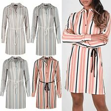 Womens Long Sleeve Baggy Cuffs Shirt Dress Ladies Button Stripes Belted Tops