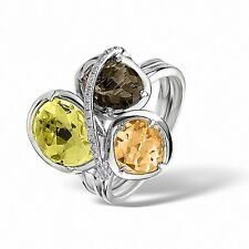White Gold Citrine Peridot Smokey Quartz & Diamond Ring  Size K-S Made in London