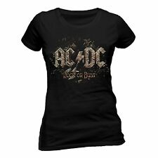 AC/DC T Shirt Rock Or Bust Skinny Fit Tee Womens Ladies Official Licensed NEW