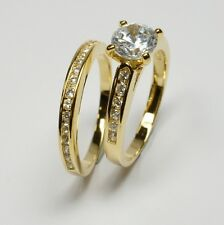 Gold Double 18ct vergoldet Ring Ringe ***  Zirkonia  Solitärring Ring Set  3320
