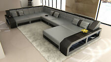 Leather sofa italian Design MATERA XXL in U-shaped with LED lighting Luxury