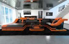 Leather sofa Interior design TURINO U-shape with LED lighting black orange