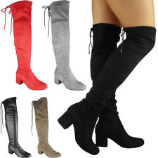 Womens Thigh High Boots Over The Knee Lace Up Long Low Heel Ladies Shoes Size